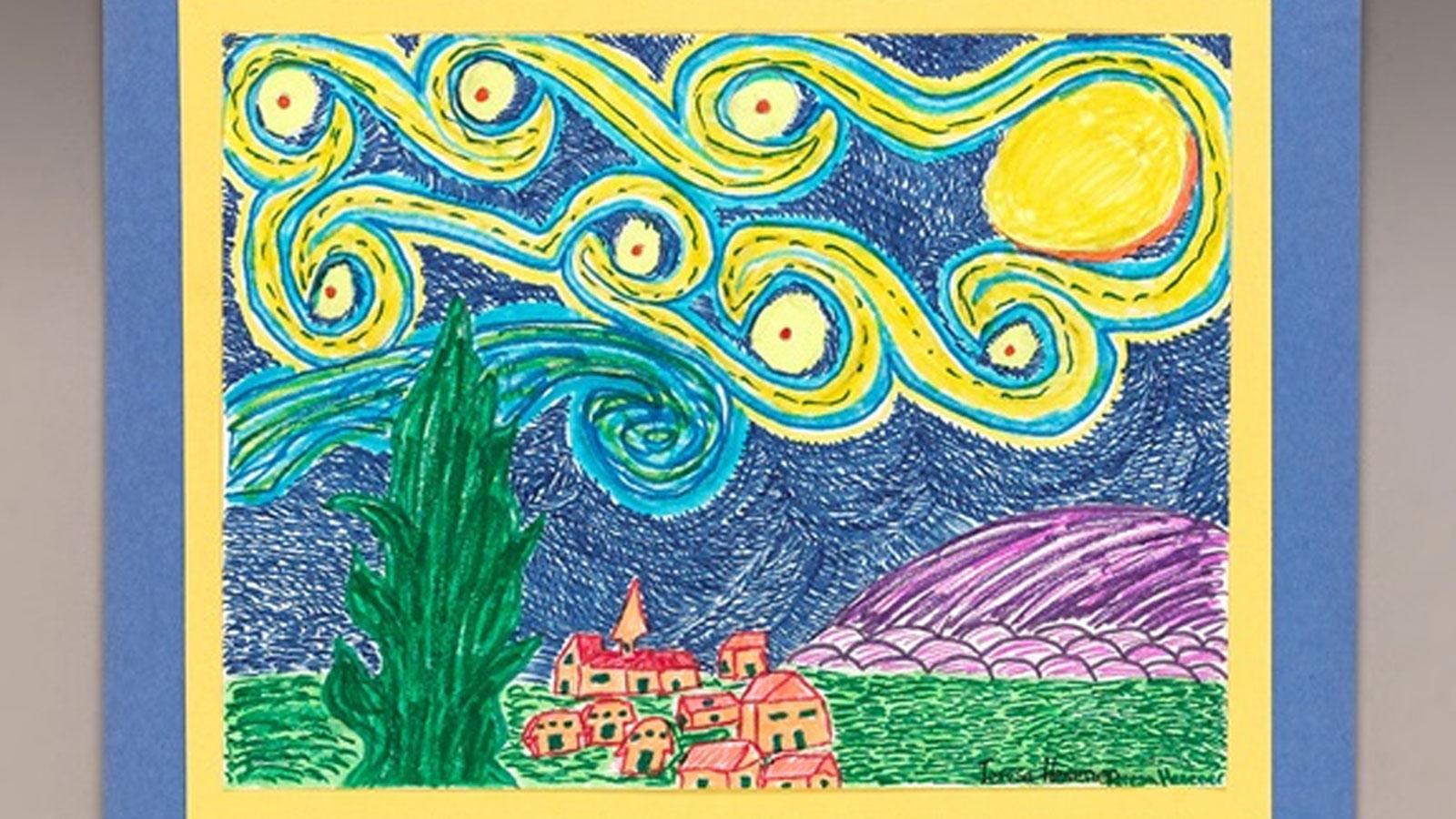 Draw A Twist On Starry Night Crayola Ciy Diy Crafts For Kids