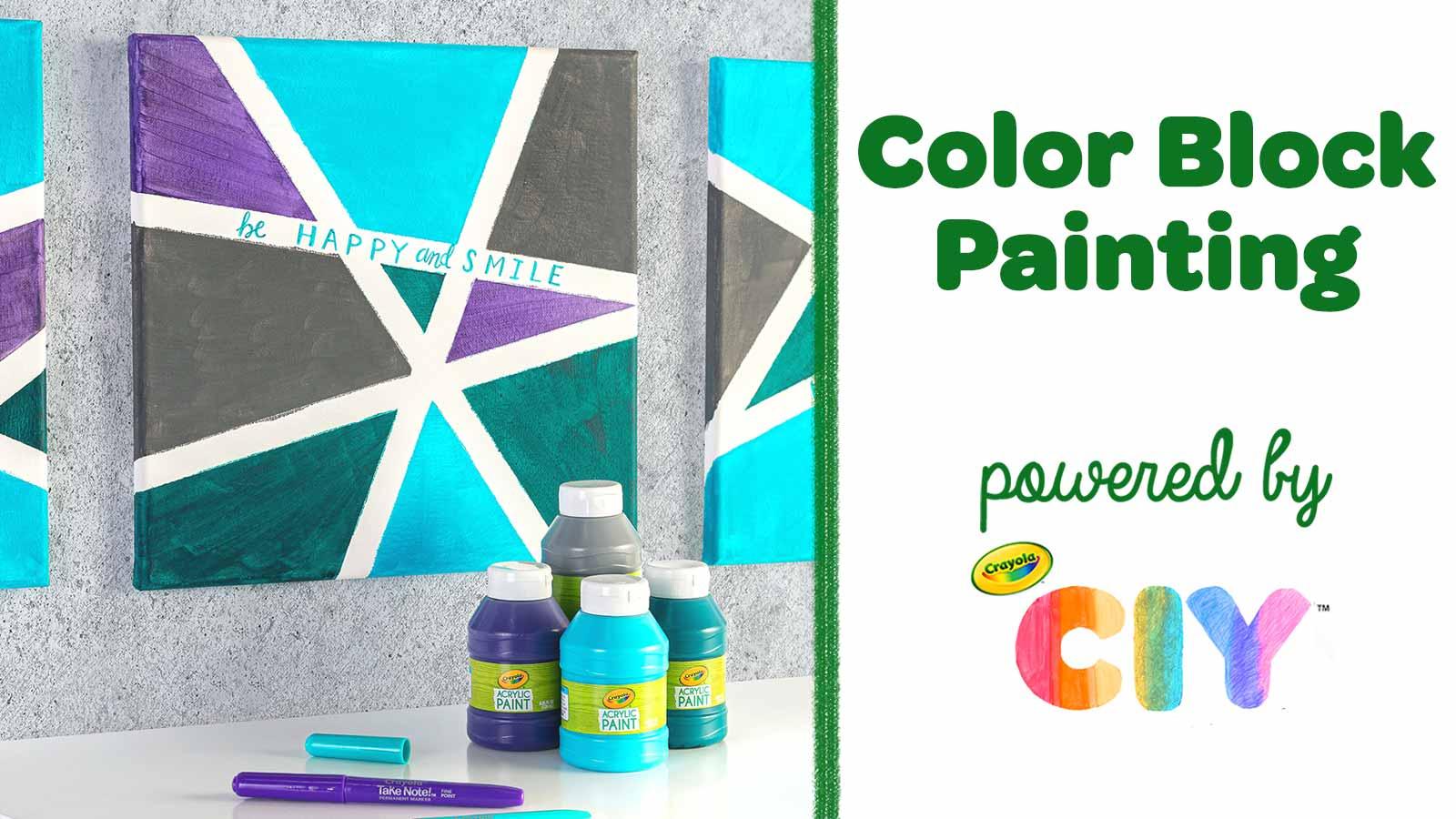 Color Block Painting Diy Canvas Art Crafts Crayola Com