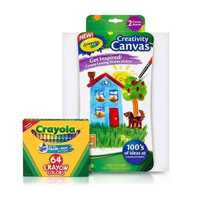 Craft kit features (1) 2 Count White Craft Canvas and (1) 64 Count Crayons