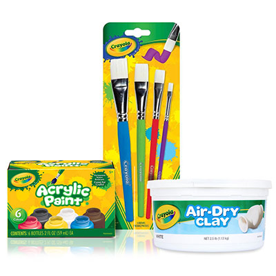 JEWELRY DISH CRAFT KIT: Features 2.5 lb Air Dry Clay in Resealable Bucket, 6 Acrylic Paints, and 4 Paint Brushes.