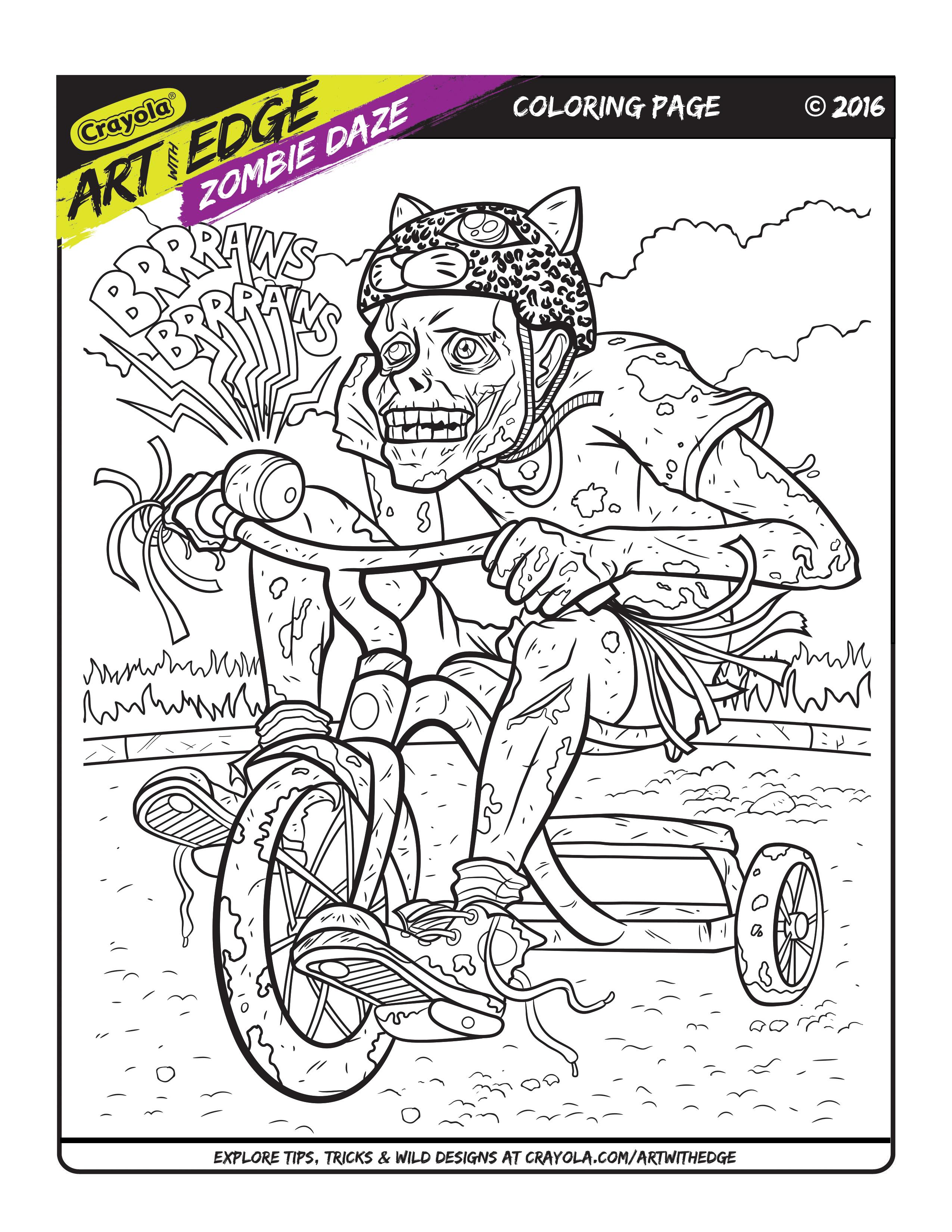 Art With Edge Zombie Daze Coloring Page Crayola.com