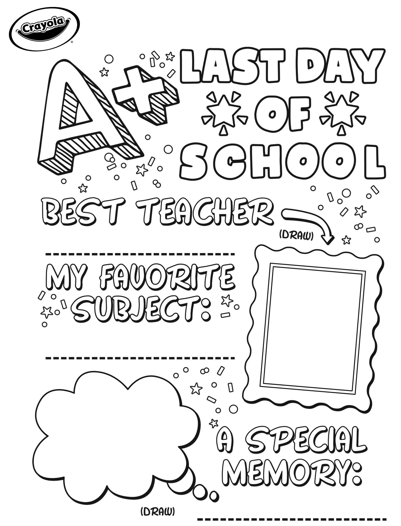 Last Day Of School Sign Crayola.com