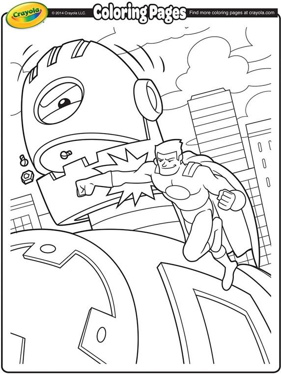 Super Hero Battling A Giant Robot Coloring Page Crayola Com