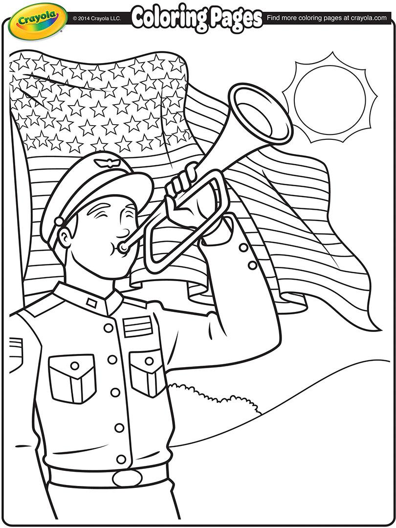 Elegant Memorial Day Bugler. Memorial Day Coloring Page