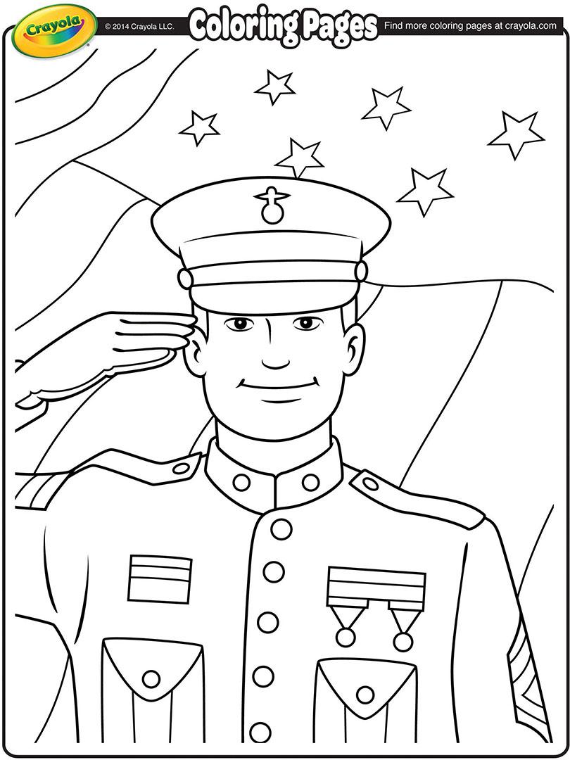 Veterans Day Soldier Coloring Page Crayola.com