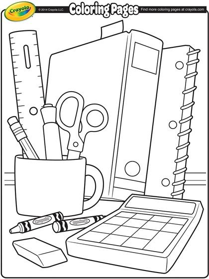 school supplies coloring page crayolacom