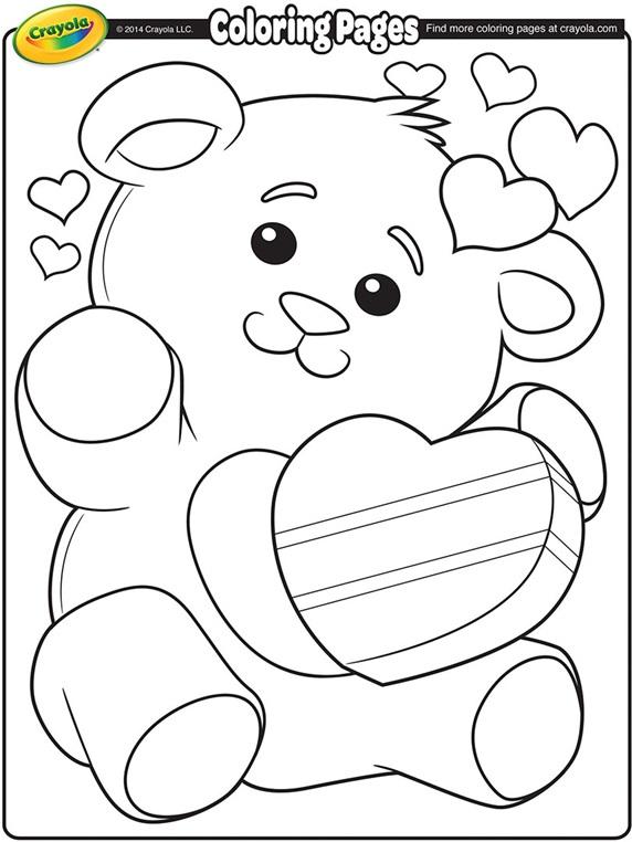 Valentine\'s Teddy Bear Coloring Page | crayola.com