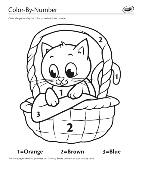 Kitten in a Basket Color By Number Coloring Page crayolacom