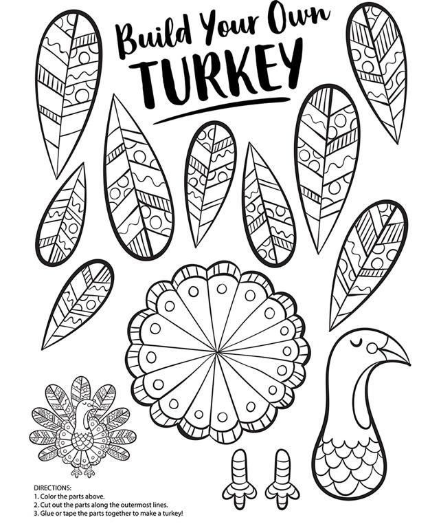 Build Your Own Turkey Coloring Page | crayola.com