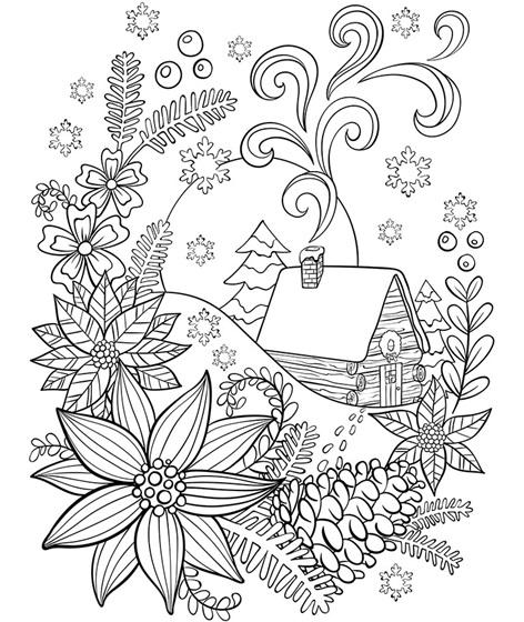 Cabin In The Snow Coloring Page | crayola.com