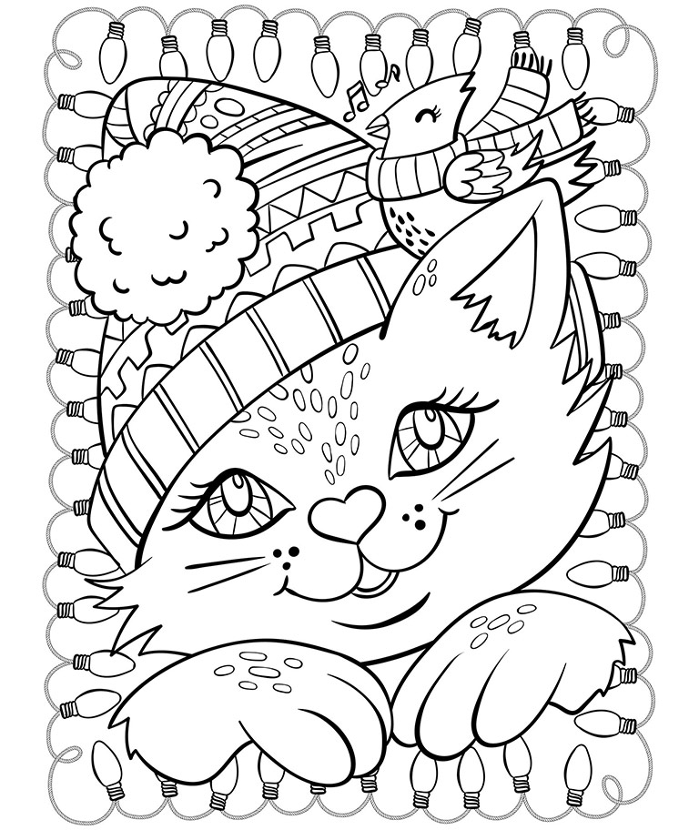 Christmas Cat and Cardinal Coloring Page crayolacom