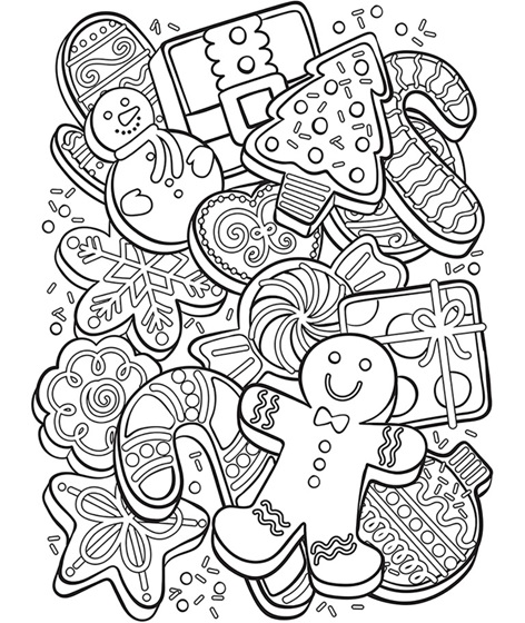 Christmas Cookie Collage Coloring Page Crayola Com