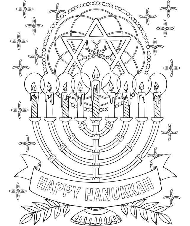 free hanukkah coloring pages print | Happy Hanukkah Menorah Coloring Page | crayola.com