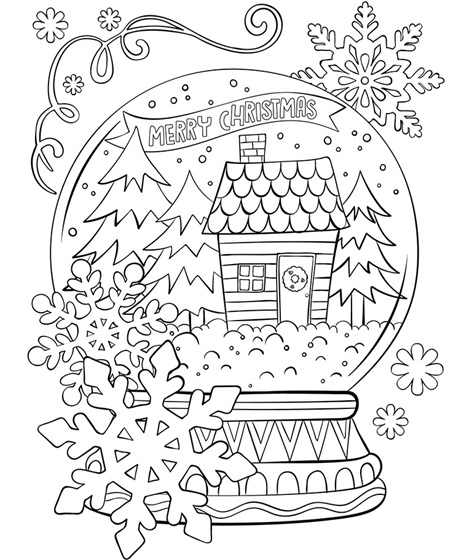 Merry Christmas Snowglobe Coloring Page | crayola.com