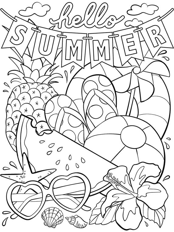 Hello Summer Coloring Page | crayola.com