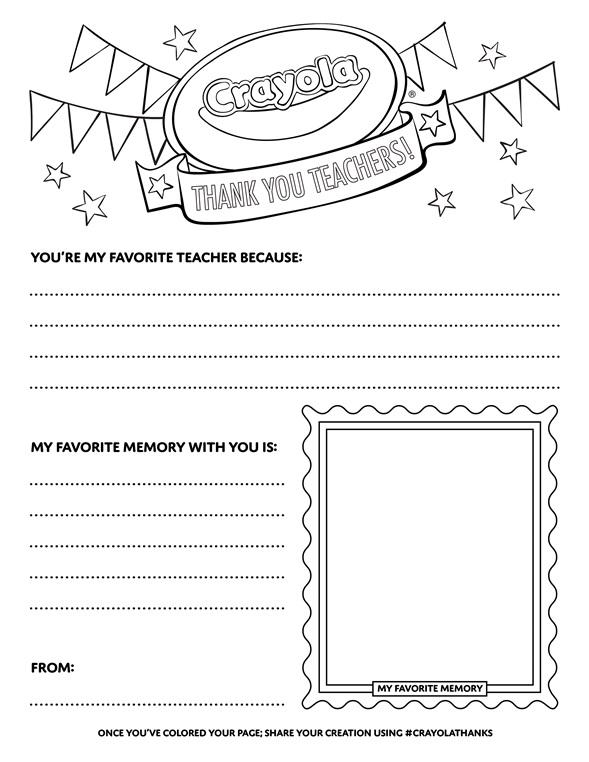 Thank A Teacher List Coloring Page Crayola Com