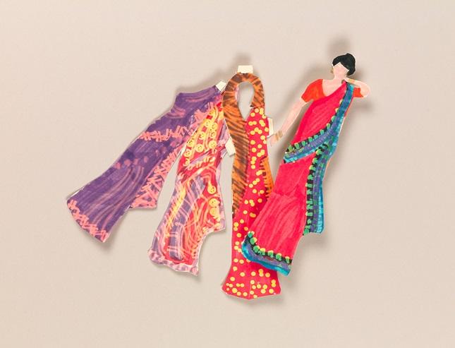 Indian Sari Paper Dolls Craft