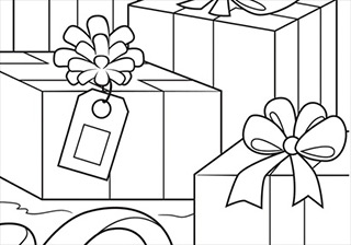 Christmas Packages Coloring Page