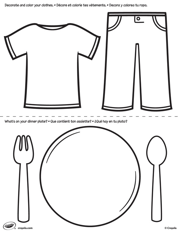 First Pages Clothes And Plate Coloring Page Crayola Com Clothes Coloring Page