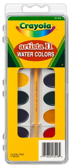 Crayola® Artista II Watercolor Set, 16 Semi-moist Oval Pans, 1 Brush