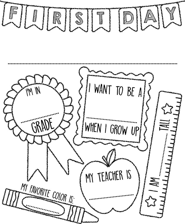 Preschool Coloring Pages For First Day Of School : First Day of School Sign Coloring Page crayola.com