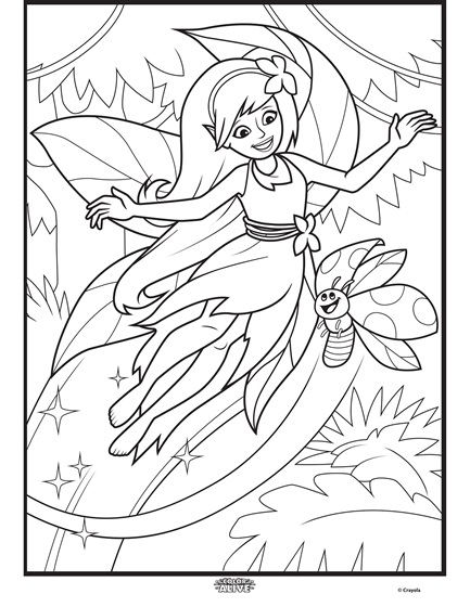 Color alive enchanted forest fairy coloring page for Crayola color alive coloring pages