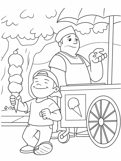 Ice Cream Seller Drawing Ice Cream Vendor