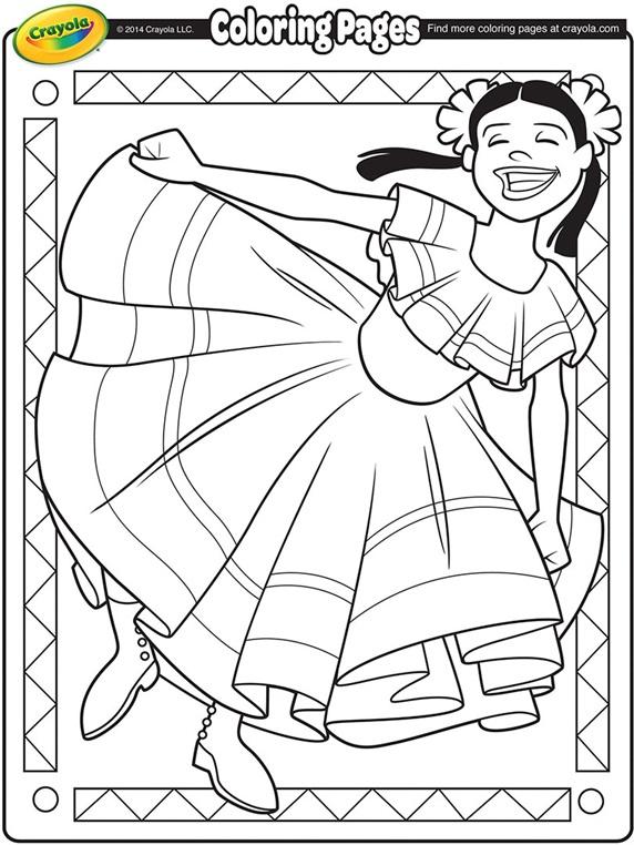 Cinco De Mayo Dancer Coloring Page Crayola Com Free Printable Cinco De Mayo Coloring Pages