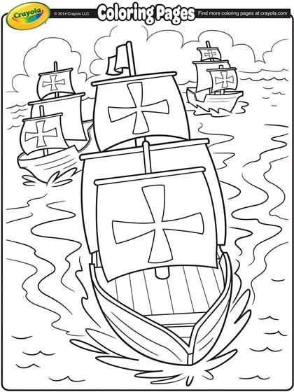 Columbus Day Coloring Pages For Kindergarten : Nina pinta and santa maria coloring page crayola