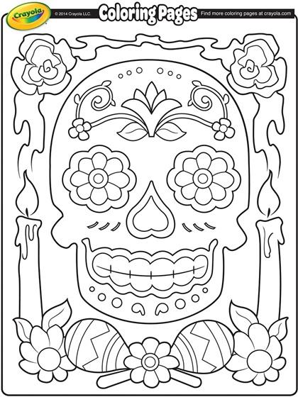 Dia de los muertos coloring page for Dia de los muertos skull coloring page