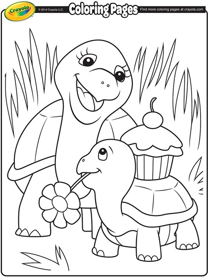 turtle mommy coloring page by crayola.com
