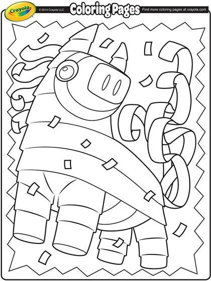 Cinco de mayo piñata conco de mayo coloring page