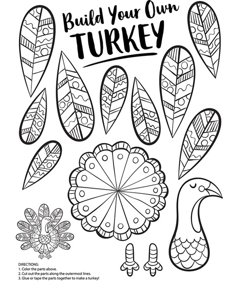 Build your own turkey coloring page for Coloring pages for thanksgiving turkeys