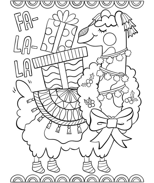 Fa La La Llama Coloring Page