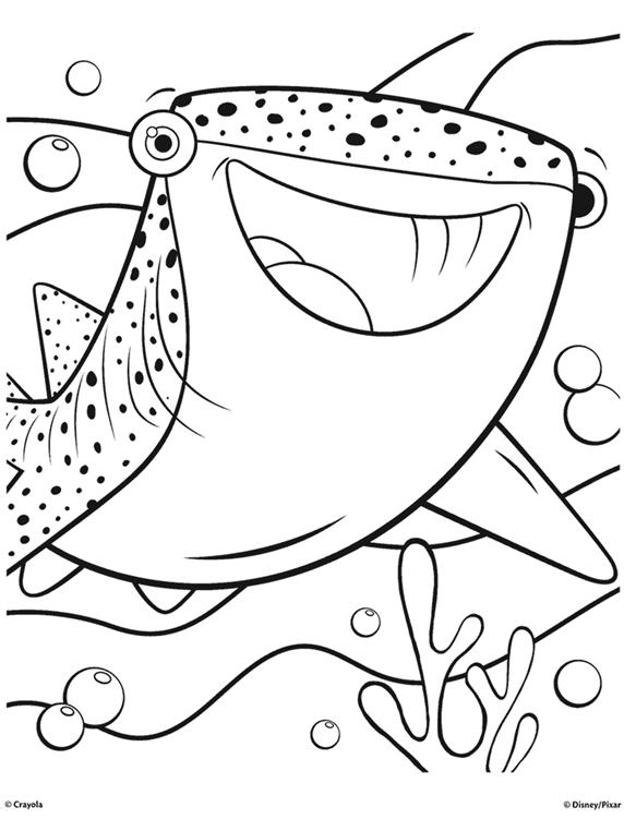 finding dory destiny the whale shark coloring page crayolacom - Coloring Pages Sharks Print