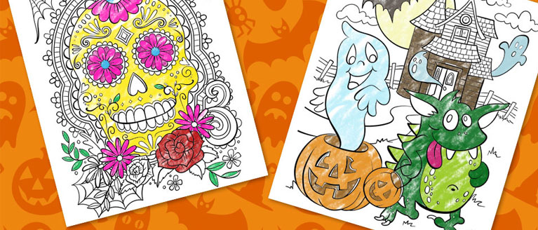 NEW and FREE Halloween Coloring Pages