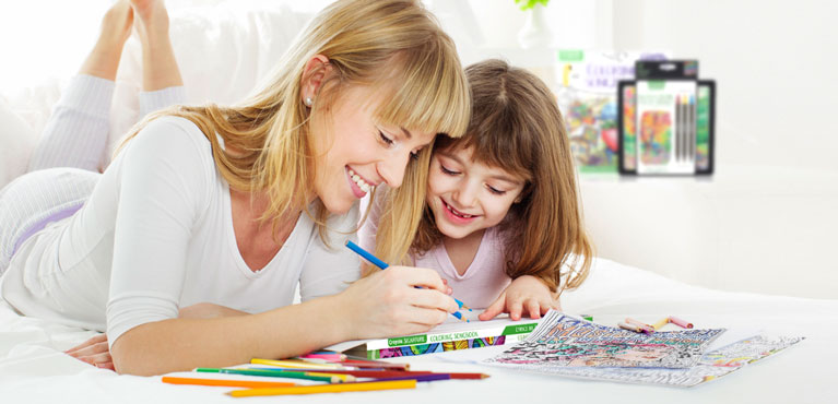 Young Girl coloring with her mother with Crayola Colored Pencils