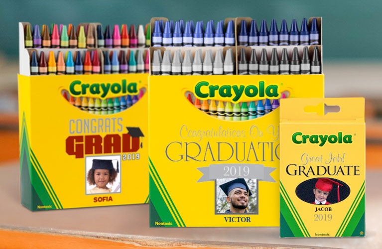 Crayola custom 64 count graduation personalized boxes