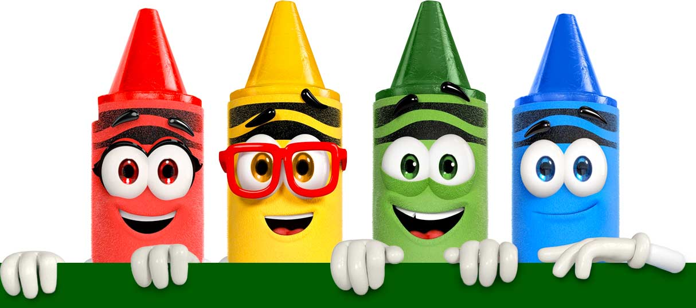 Crayola Crayon Crew characters Scarlet, Rod, Gus and Denny