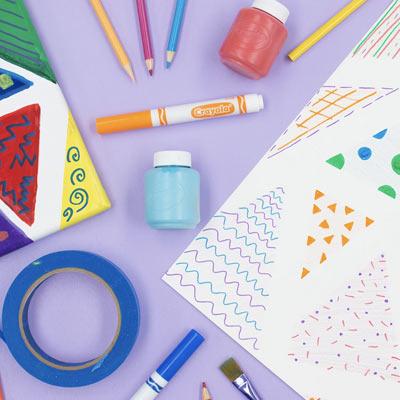 Variety of Crayola crafting supplies