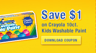 save 1 dollar on 1 crayola 10 count kids washable paint